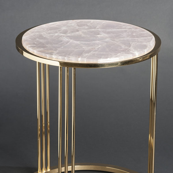 2463 Pink quartz round sidetable (gilt-or-nickel-plated-brass)