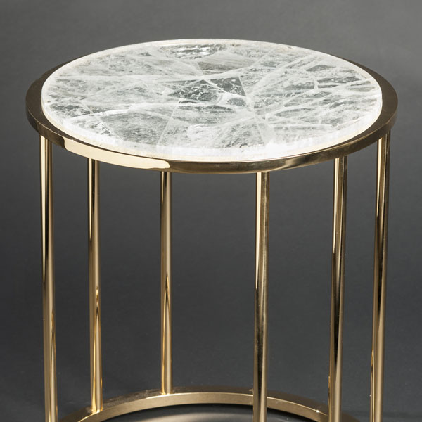2466 Hyaline quartz round side table (gilt brass)