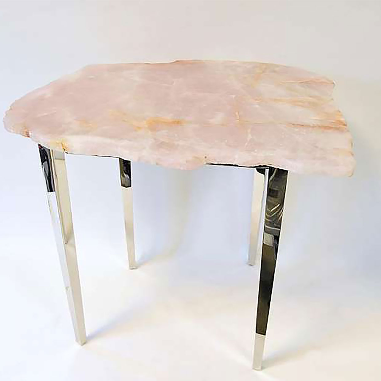 3482 Pink quartz coffe-table (nickel-plated brass)