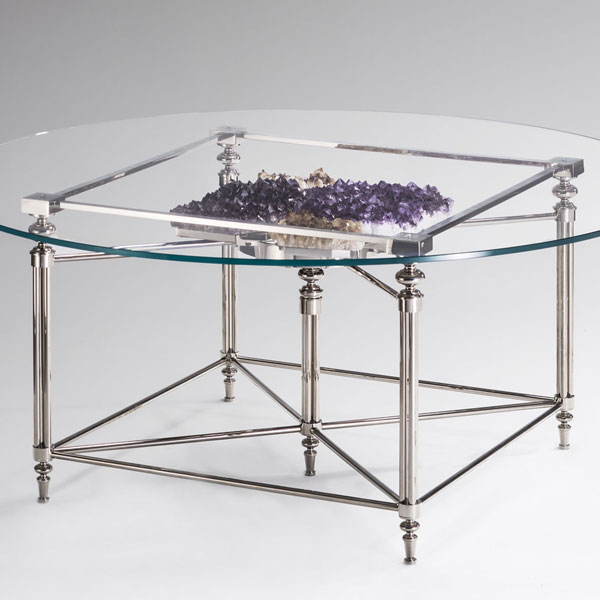 Round table (Amethyst and citrine quartz or Coral)