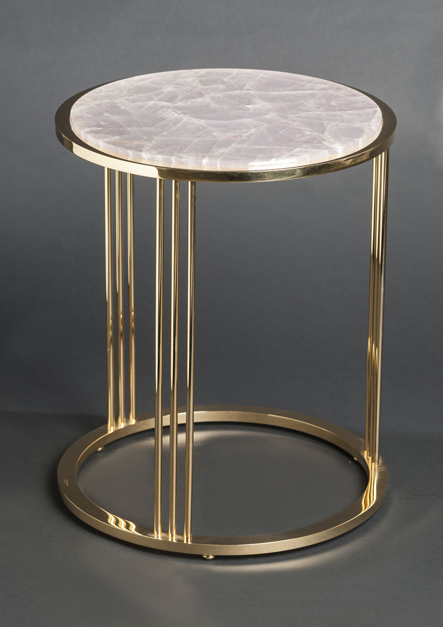 2463 Pink Quartz Round Side Table (gilt Or Nickel Plated Brass )